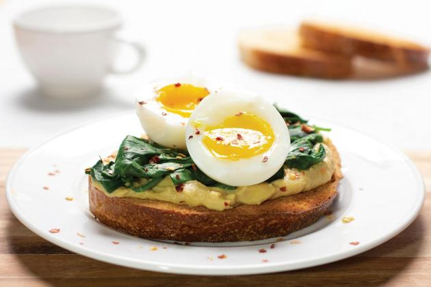 Hummus Toast with Soft-Boiled Egg and Spinach