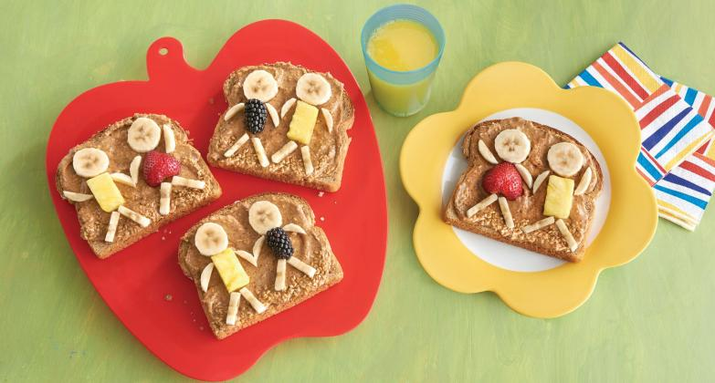 """Kids"" with almond toast"