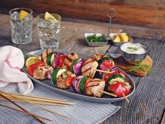 Grilled pork kebabs with Tzatziki Sauce.