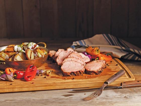 Grilled pork and potato planks.
