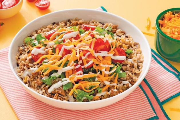 Brown and Wild Rice Bowl with Veggie Burger