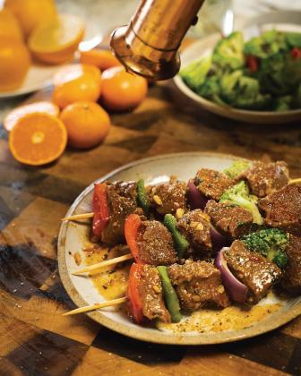 Orange and Harissa Glazed Beef Kebabs