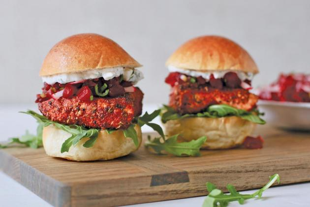 Blackened Salmon Sliders with Pickled Beet Relish