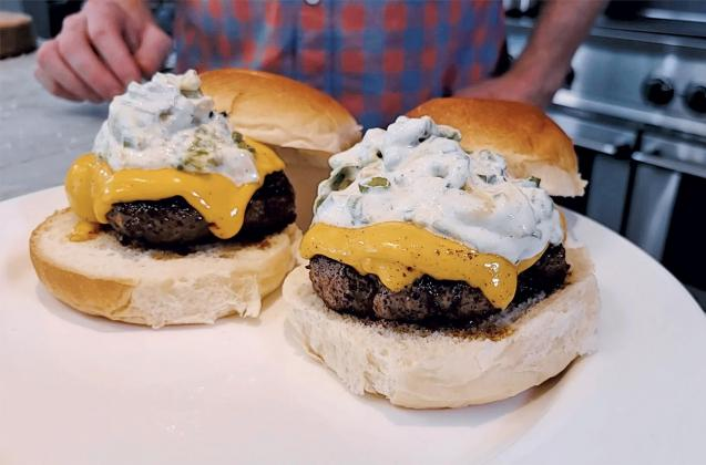 Ranch Crusted Burgers with Avocado Ranch Sauce