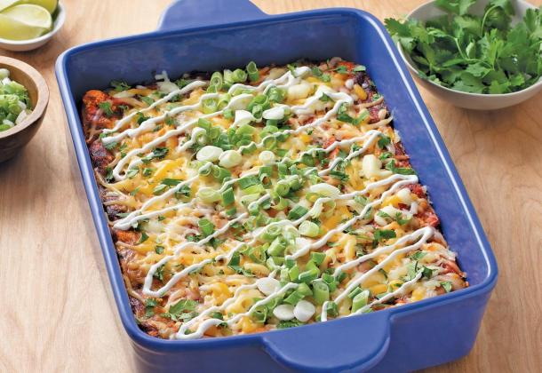 California-Style Cheesy Enchilada Casserole