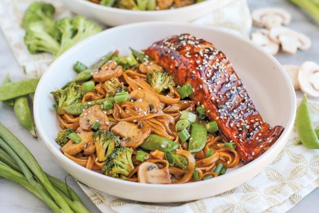 Asian Barbecue Sesame Salmon with Noodles and Veggies