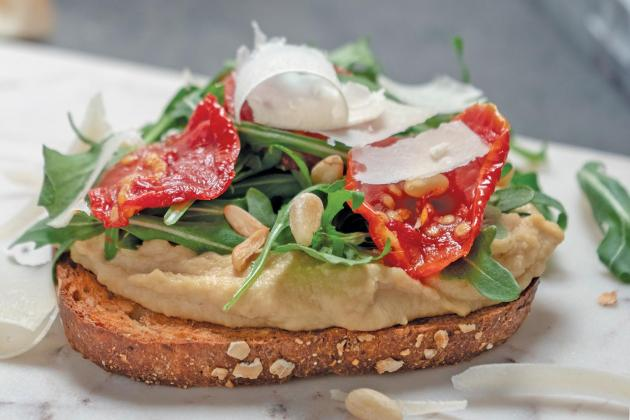 Hummus Toast with Sun-dried Tomatoes and Parmesan