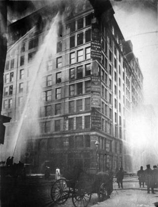 Triangle Shirtwaist Company building on fire, March 25, 1911.