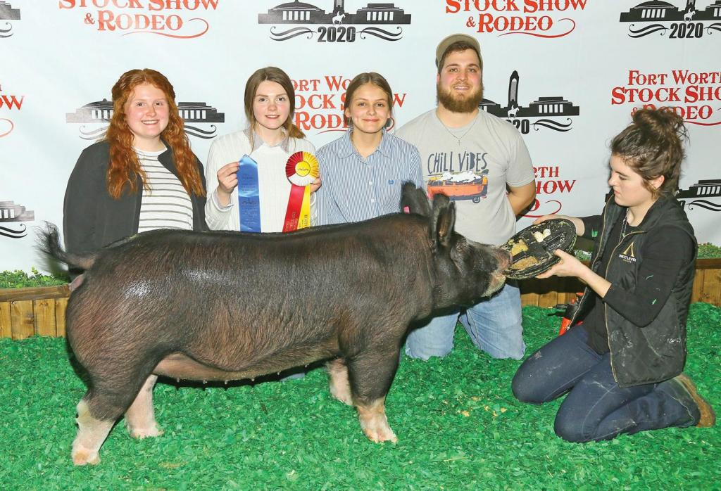 Ashlyn Summers from Waxahachie and her Champion Poland China Gilt/Reserve Champion Commercial Cross Gilt.