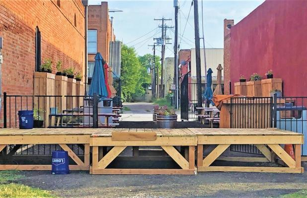 First responders impounded two of the three stage sections blocking the Ferris City Alley Park on Sunday.