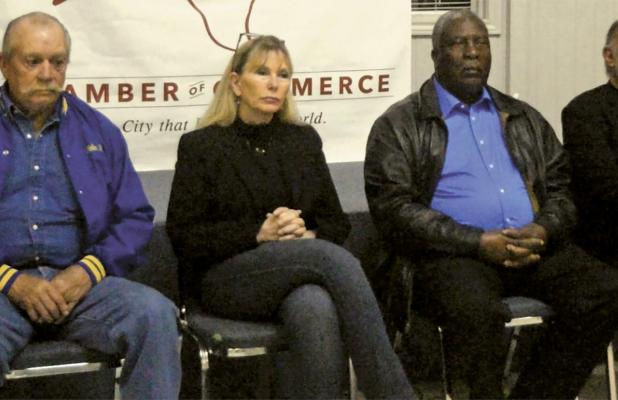 Ferris Chamber of Commerce Candidates Forum candidates shown – John Riley, Sherie Chapman, Tommy Scott, Rudy Amor – along with Michael Martinez, answered random questions during the hour-long event. Not attending were Bobby Lindsey, Cindy Aspin or Jennifer Stanford.