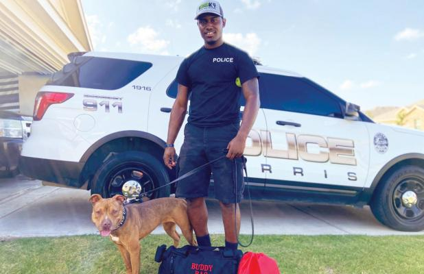 Isle of Wright County, Virginia Animal Shelter volunteers came together and purchased a Buddy Bag and Cool Vest for K9 Fuse who along with her handler, Officer Charles Banks III, are members of the Ferris Police Department. The Buddy Bag contains equipment used to provide life-sustaining treatment to an injured K9 while en route to a veterinarian.