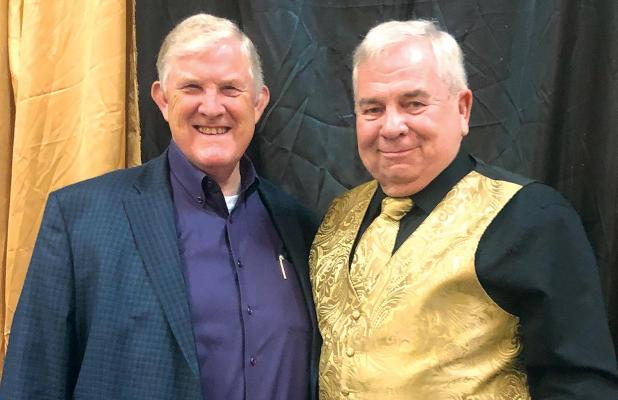 Doug Hunt, Access Self Storage and Charles D. Hatfield Jr, The Ellis County Press, pose for a photo and Saturday's Red Oak Chamber Gala.