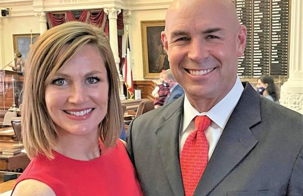 State Representative Jake Ellzey and his wife Shelby on the Texas House floor. Ellzey was sworn in on Jan. 12.