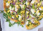 Grilled Pizza with Arugula Pesto, Corn and Ham