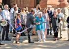 A ribbon cutting was held earlier this month to celebrate the re-opening of the four doors at the historic Ellis County Courthouse.