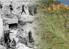 THEN & NOW – After the assault at the cliffs of Pointe du Hoc by the 2nd Ranger Battalion led by Colonel James E. Rudder (Texas A&M, Class of 1932), the Rangers established a command post. German prisoners were gathered, and an American flag was deployed for signaling on nearby Omaha Beach.