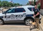 K9 Zero and Officer Beckfield of the Lexington, Missouri Police Department School District.