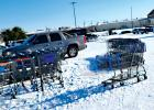 Shopping carts outside the Walmart in Red Oak were a first come first serve, grab it from the parking lot situation Monday afternoon.