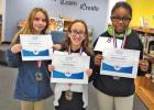 RED OAK ELEMENTARY – Alira Hughes, 1st Place; Jazzmine Stafford, 2nd Place; Peyton Newsom, 3rd Place.