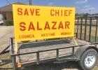 Yellow 8'x4' signs were seen over the weekend in Ferris on trailers and in parking lots supporting Public Safety Director Eddie Salazar. There had been rumors he was going to be terminated at Monday night's council meeting.