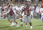 Duncanville transfer Chris Parson (1) came in as QB and sparked some life into the Hawks offense with his ability to extend plays, both with his legs and arm. Photo by Steve Patterson / Moving Pictures